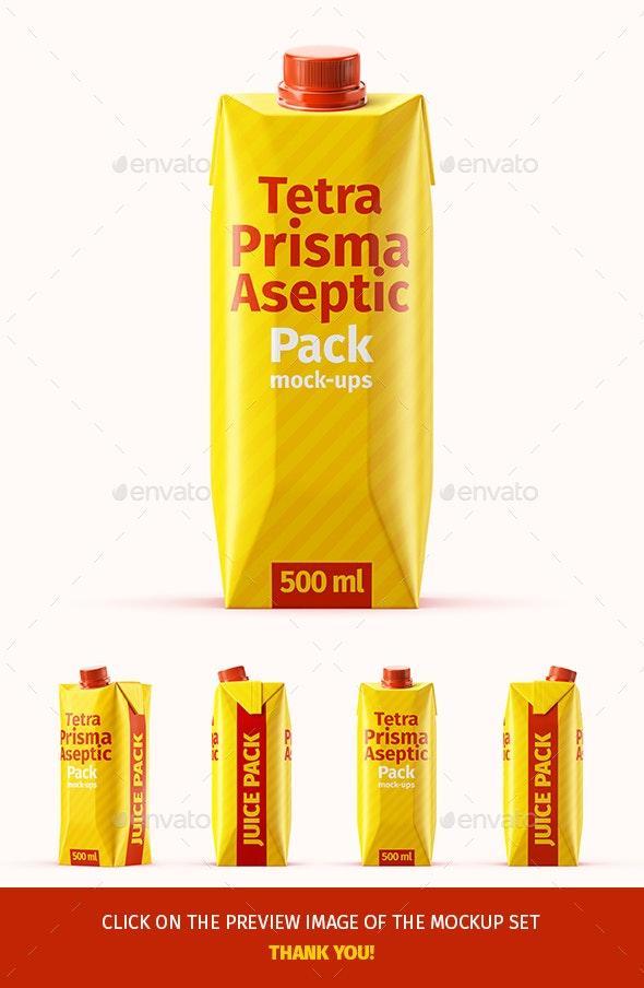 Tetra Pak. Prisma Pack (500 ml) Mockup Set - Food and Drink Packaging