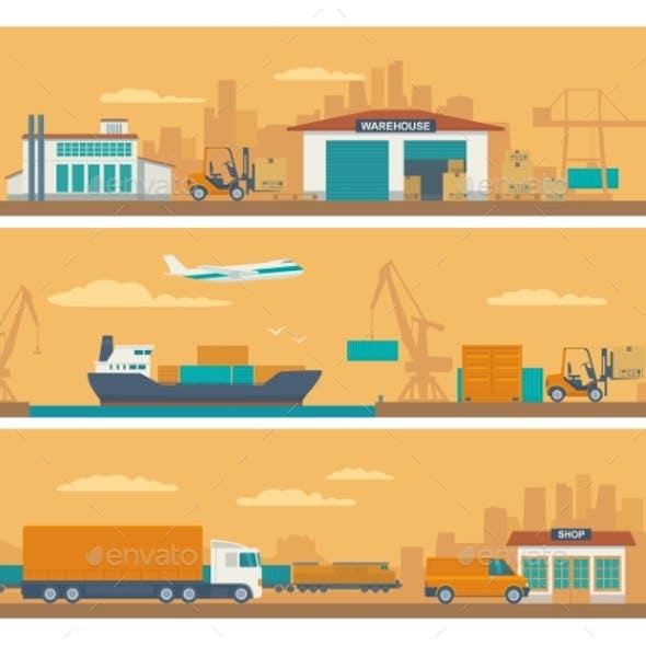 Logistic Concept Flat Banner Production Process