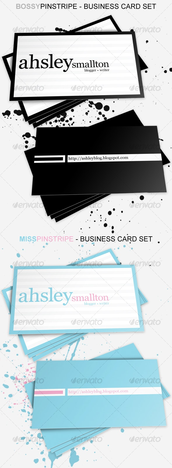 Bossy n Miss Pinstripe Business Card - Corporate Business Cards