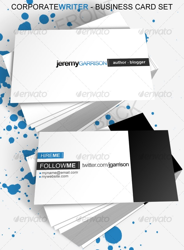 Corporate Writer Business Card - Corporate Business Cards