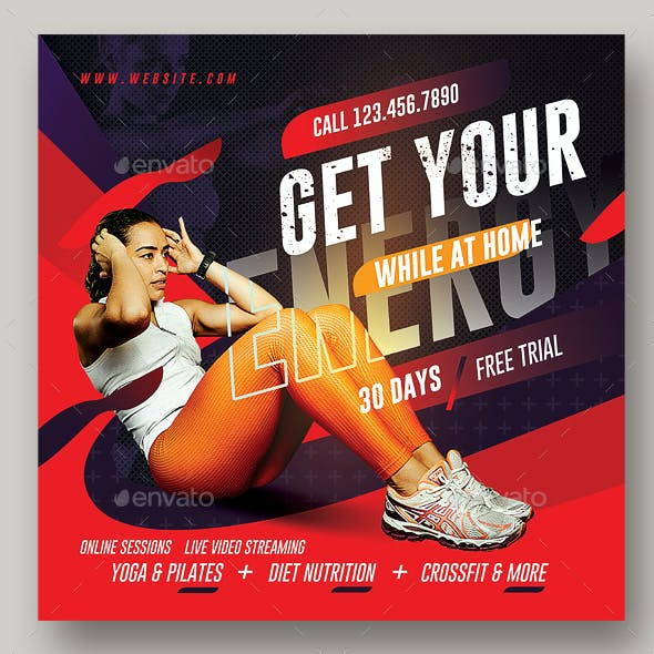 Gym Flyer / Fitness Flyer Template for online classes