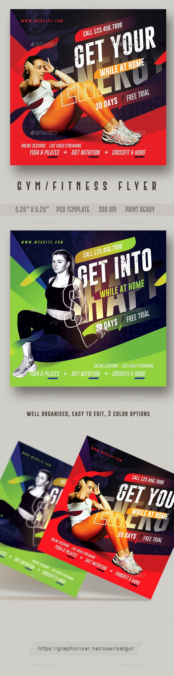 Gym Flyer / Fitness Flyer Template for online classes - Sports Events