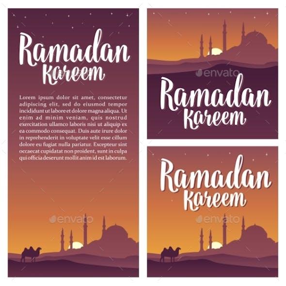 Ramadan Kareem Lettering with Minarets Crescent
