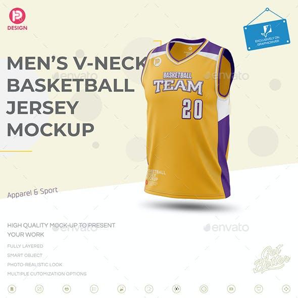 Men's V-Neck Basketball Jersey Mockup
