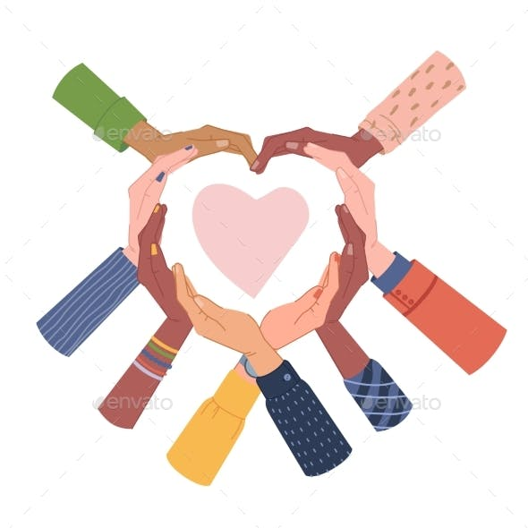 Group of People Putting Hands Shape of Heart Love