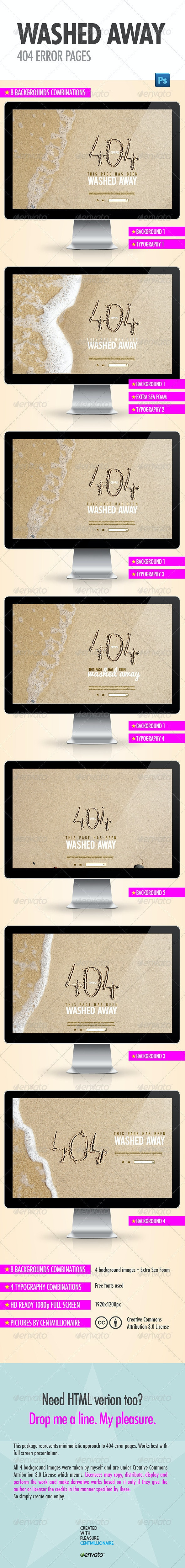 Washed Away 404 Error Pages - 404 Pages Web Elements