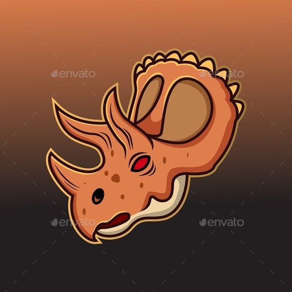 Triceratops Head Mascot