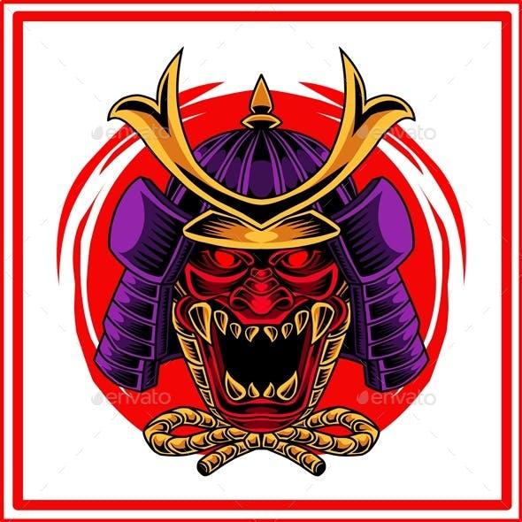 Oni Samurai Head Mascot