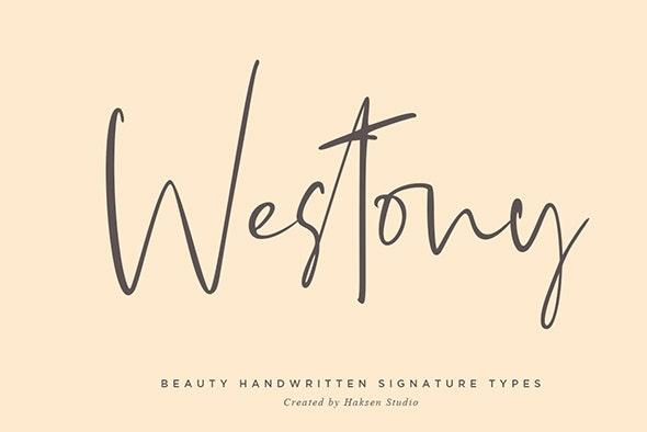 Westony Signature Script - Hand-writing Script