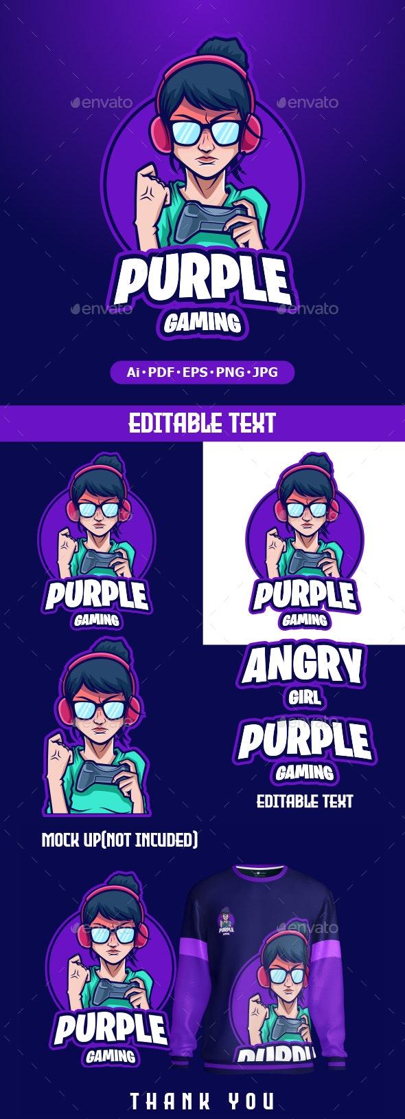 Angry Girl Gaming logo mascot - Humans Logo Templates