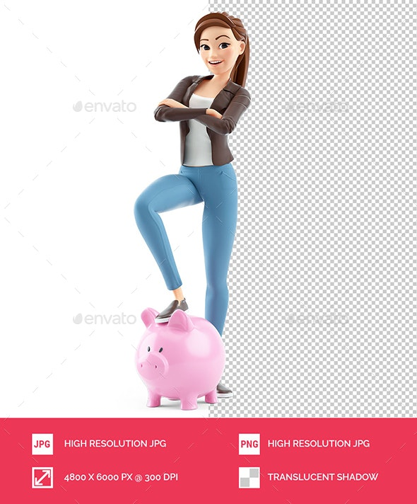 3D Cartoon Woman Foot on Piggy Bank - Characters 3D Renders