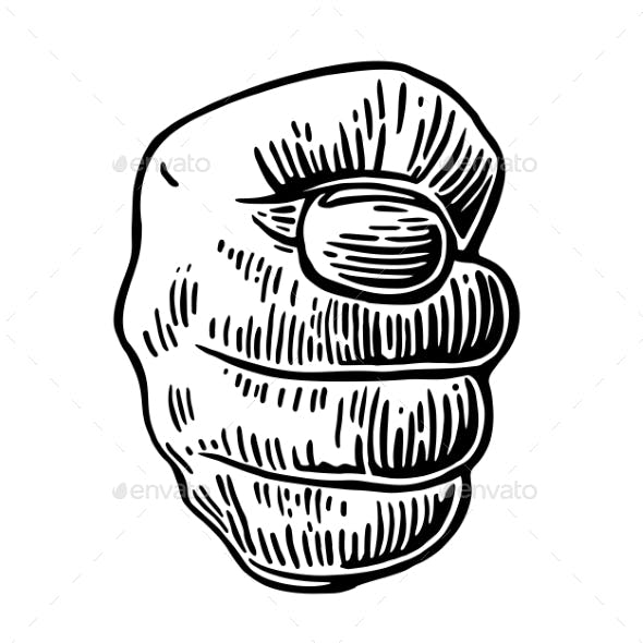 Male Hand Showing a Fig Sign