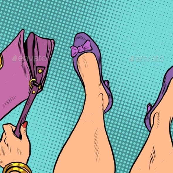 Lady Fashionista with Handbag Feet