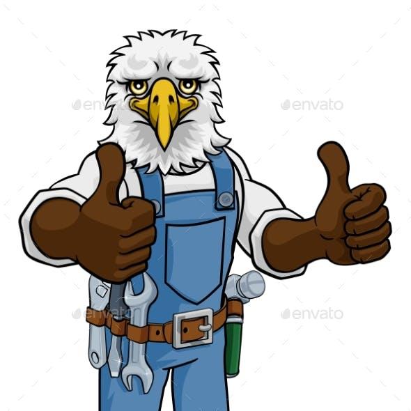 Eagle Construction Cartoon Mascot Handyman