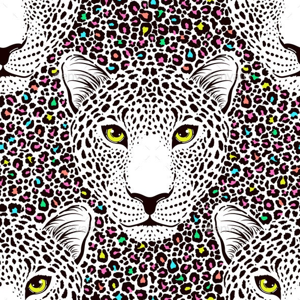 Seamless Pattern with Leopard - Miscellaneous Vectors