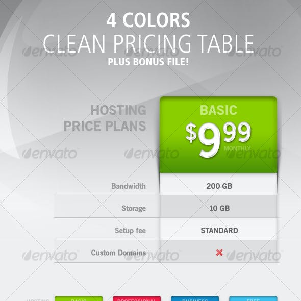 Pricing-Table: 4 Colors