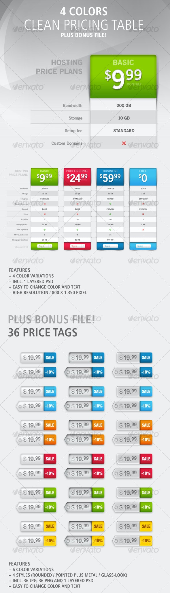 Pricing-Table: 4 Colors - Web Elements