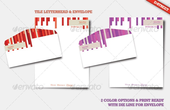 Tile Letterhead & Envelope - Creative Business Cards