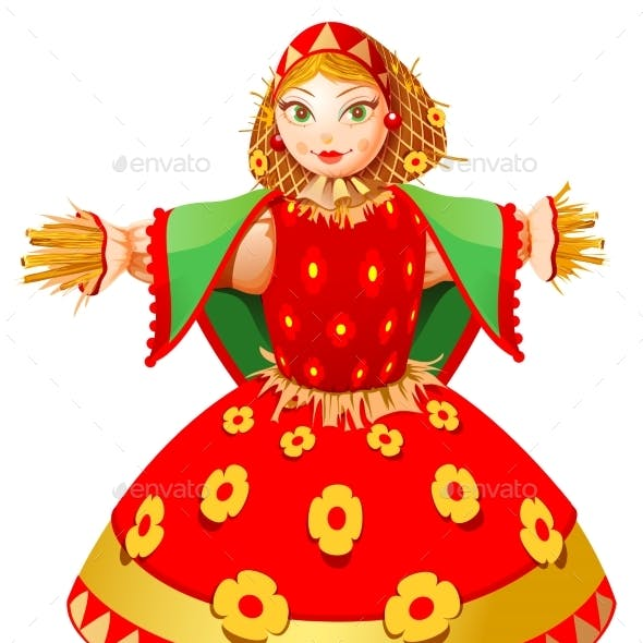 Russian Straw Effigy Woman in Traditional Dress