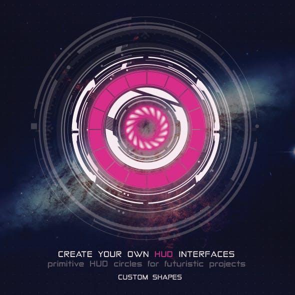 Futuristic Sci-Fi HUD Elements Pack - Primitive HUD Circles