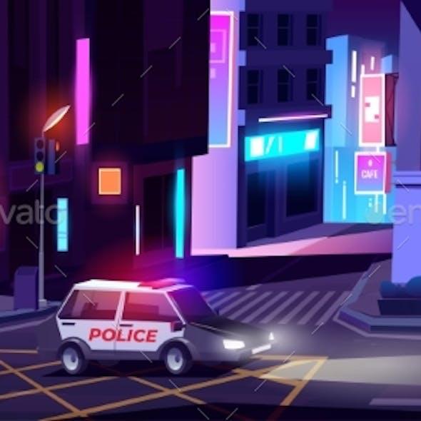 Night Police Patrol Department Car on Street