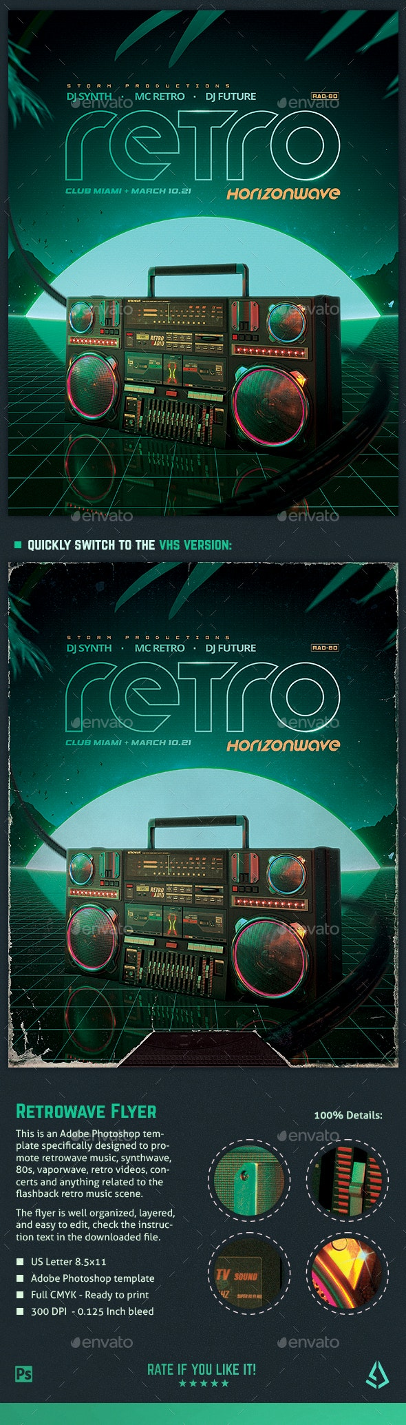 Retrowave Flyer 80s Flashback Radio - Clubs & Parties Events