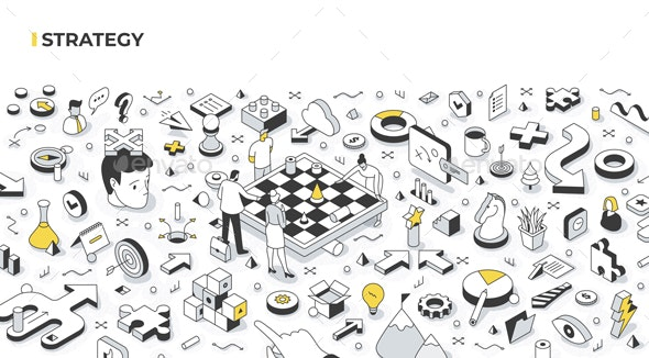 Strategy Isometric Illustration - Concepts Business