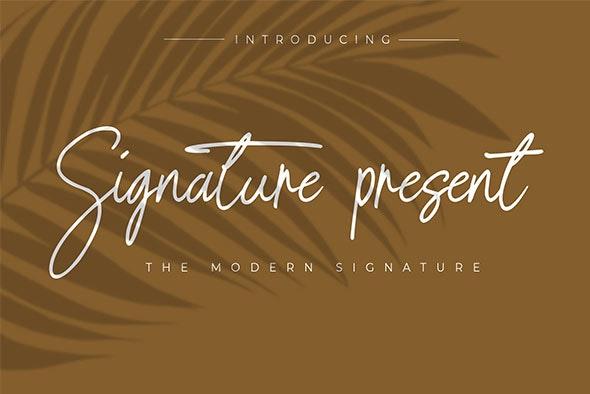 Signature Present - Handwriting Fonts