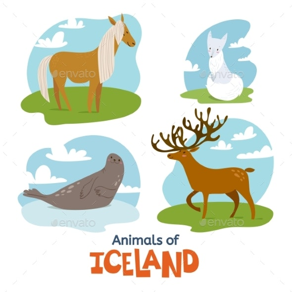 Animals of Iceland in Flat Modern Style Design - Animals Characters