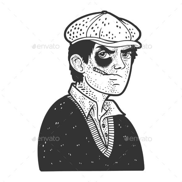 Hooligan Man Black Eye Sketch Vector Illustration