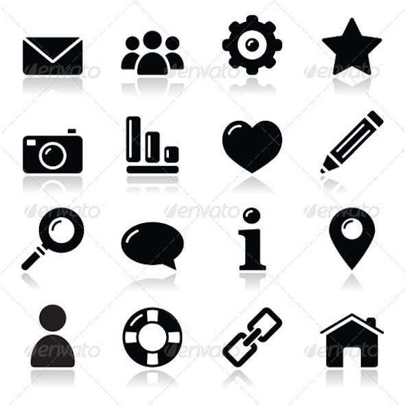 Website menu navigation black shiny icons - home,