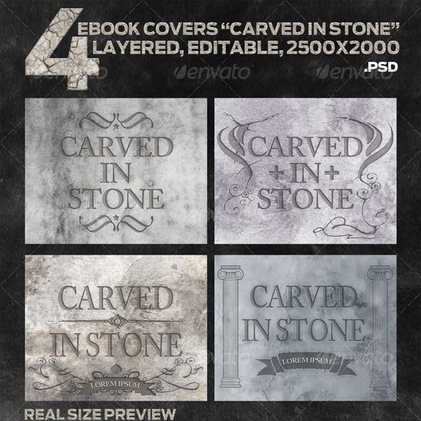 """4 eBook Covers """"Carved In Stone"""" - Layered"""