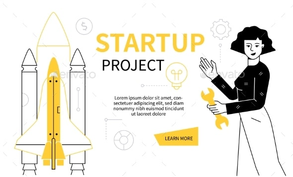 Startup Project  Modern Line Design Style Web - Business Conceptual