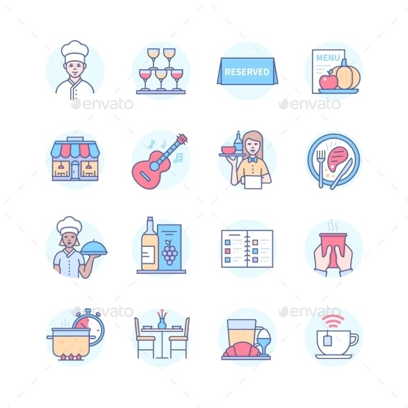 Restaurant  Modern Line Design Style Icons Set - Food Objects