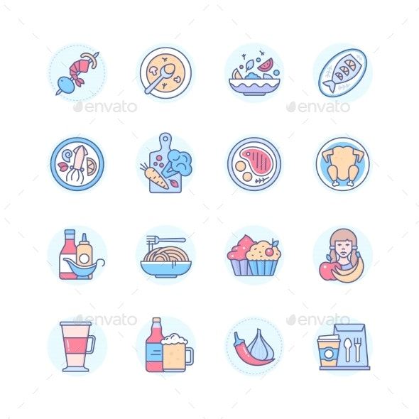 Restaurant Menu  Modern Line Design Style Icons - Food Objects