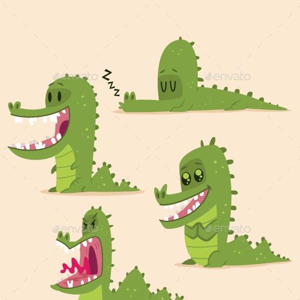 Alligator Crocodile Vector Cartoon Character Set