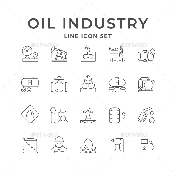 Set Line Icons of Oil Industry - Man-made objects Objects