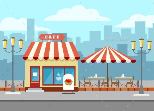 Bistro Cafe Exterior - Buildings Objects