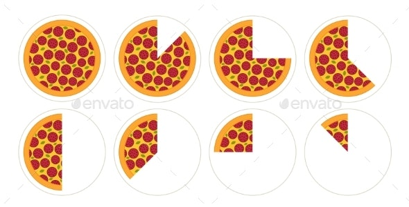 Slice of Pizza Diagram Infographics Set - Food Objects