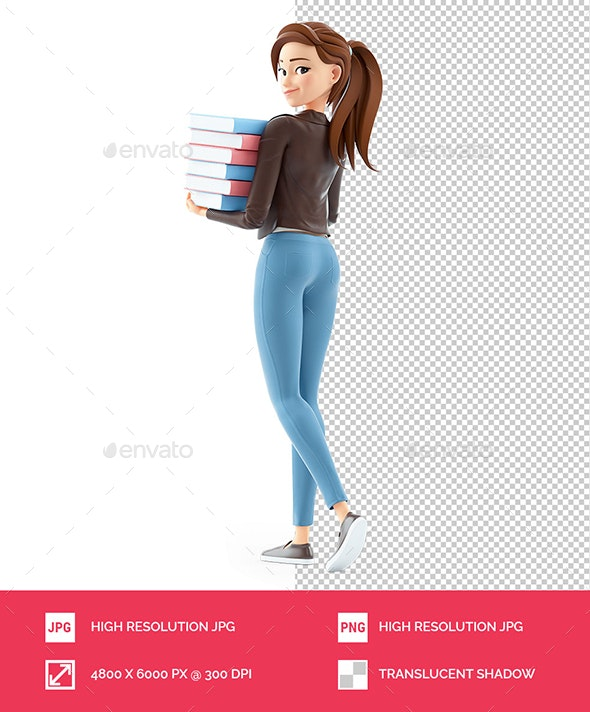 3D Cartoon Woman Holding Stack of Books and Walking - Characters 3D Renders