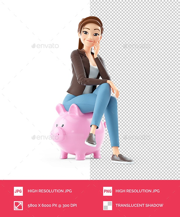 3D Cartoon Woman Sitting on Piggy Bank - Characters 3D Renders