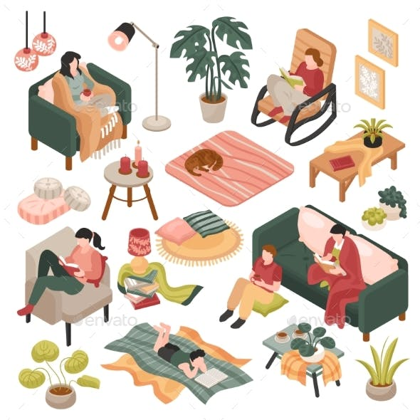 Isometric Cozy Home Set