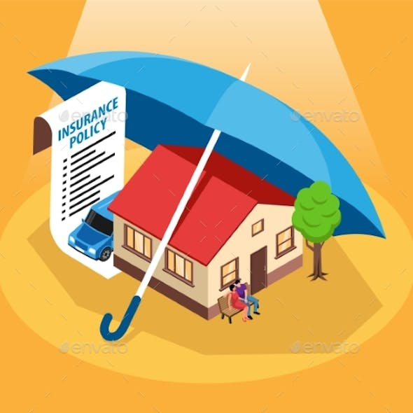 Insurance Policy Isometric Composition