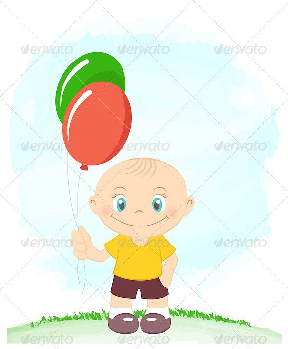 Cute Little Boy With Toy Balloons - Seasons/Holidays Conceptual