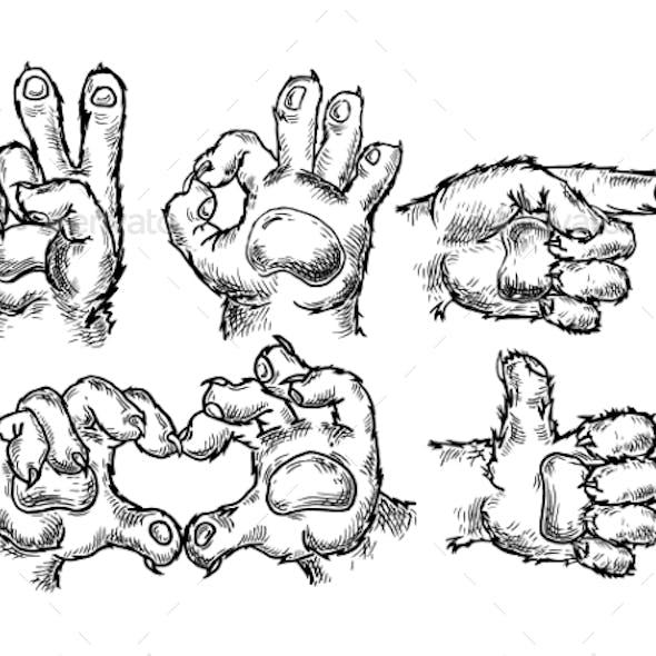 Cat Paw Sign Set