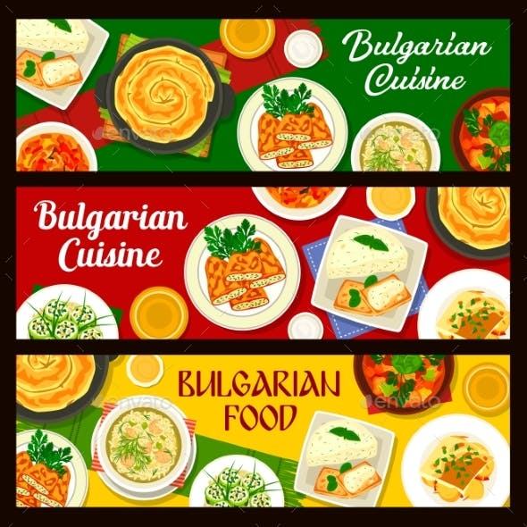 Bulgarian Vegetable Food with Meat Fish Banners