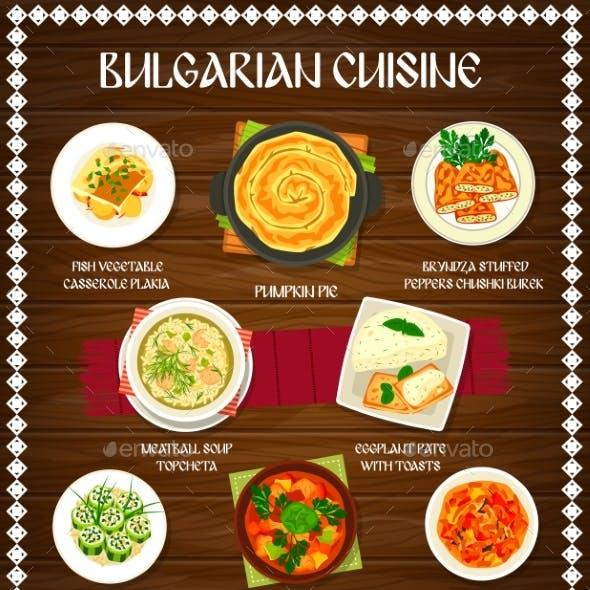 Bulgarian Cuisine Food of Vegetable Meat Fish