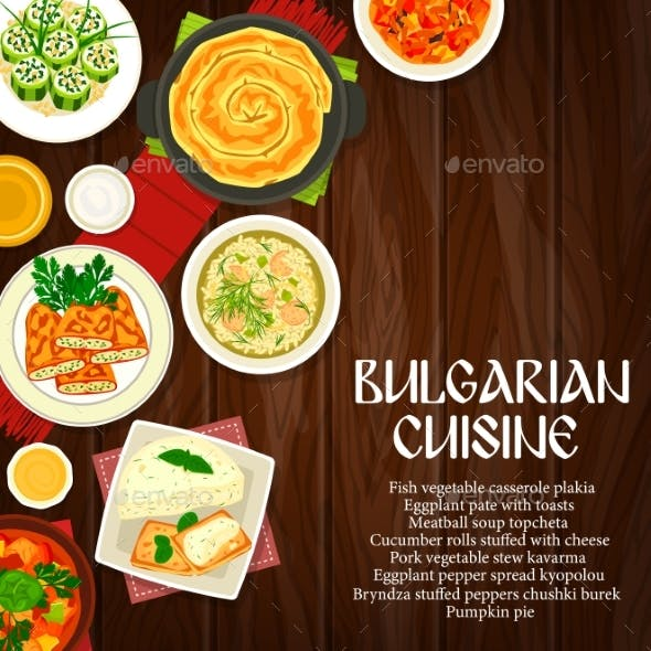 Bulgarian Cuisine Dishes on Wood Background