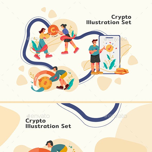 Crypto Illustration Set Template