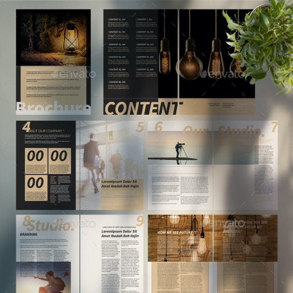 Brochure Template with Tan Accent
